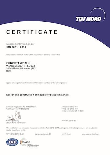 Eurostampi is certified for the UNI EN ISO 9001 quality system